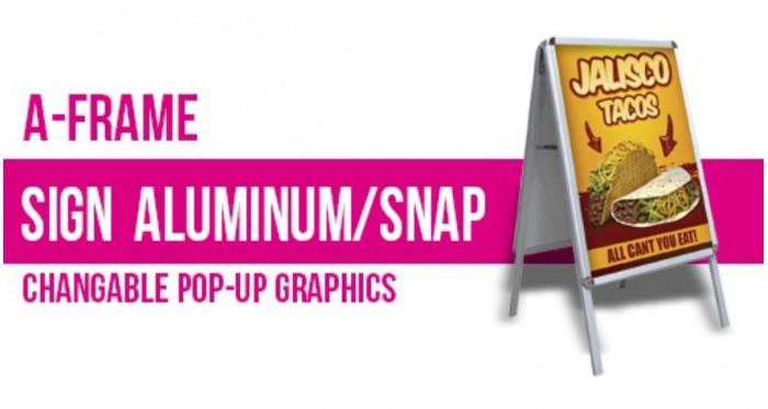 "A Frame Sign Aluminum/Snap - Changable Pop-Up Graphics 24x36"""